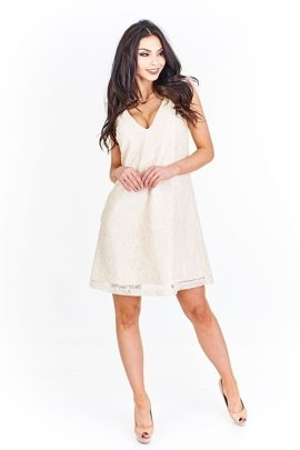 8fab395d04 Rozkloszowana sukienka z mini rękawkami