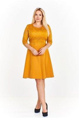 320d0c3863 Sukienka z dopasowaną koronkową górą i swobodnym lekko rozkloszowanym dołem  wiązana w pasie