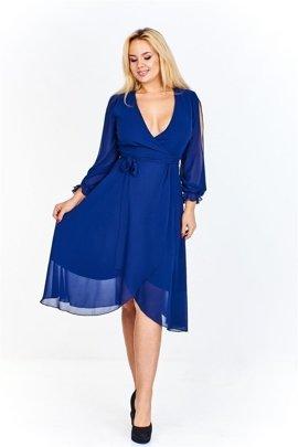 8767e36d24 Szlafrokowa sukienka z delikatnego materiału z kopertowym dekoltem i  rozcięciami na rękawach