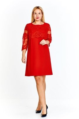 24e7c2abb3 Trapezowa sukienka z koronkowymi rękawami i koronkową a la dodatkową klapą  z przodu