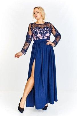 70c4c3da9f Wieczorowa sukienka maxi z wyszywaną górą i rękawami ze wzorem imitującym  siatkę