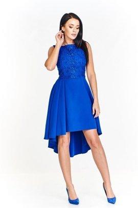 81b2591b82fd88 Wieczorowa sukienka z koronkową dopasowaną górą i asymetrycznie skrojonym  swobodnym dołem