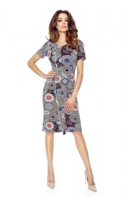 59ed20757f Wzorzysta sukienka z dodatkową a la zakładką z przodu i subtelnym dekoltem  w serek