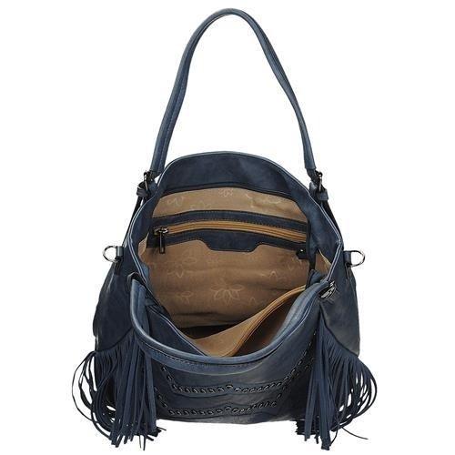 ca283e7c97fe5 Granatowa modna torebka damska z frędzlami po bokach DUDLIN 8035-107 ...