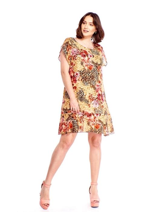 c3c2f0ccd4 Wzorzysta sukienka z falbaną
