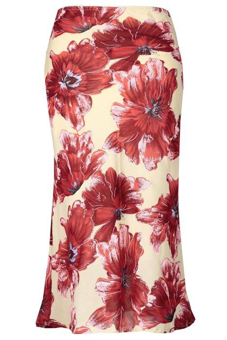 Spódnica FSP771 BEŻOWY + CZERWONY kwiaty