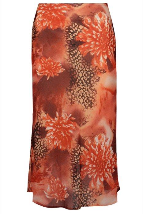 Spódnica FSP771 POMARAŃCZOWY MOCNY kwiaty