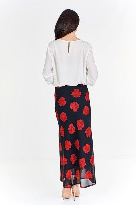 Spódnica FSP771D długa CZARNY + ZIELONY kwiaty