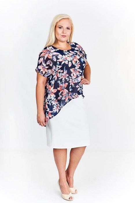d10e1d1c99 Sukienka FSU620 EKRI + GRANATOWY koralowe kwiaty Sukienka FSU620 ...
