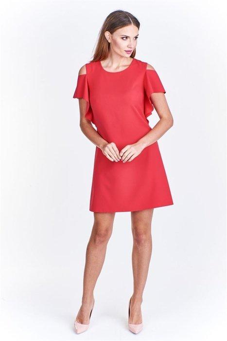 6d41a8e917 Trapezowa sukienka z wycięciami na ramionach Czerwony