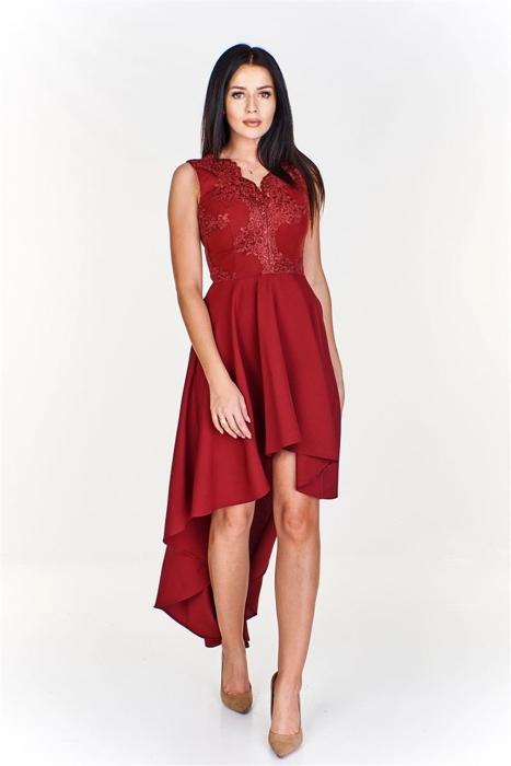 d6090dabd215d1 Zjawiskowa asymetryczna sukienka z wyszywaną górą Bordowy | Fokus.pl